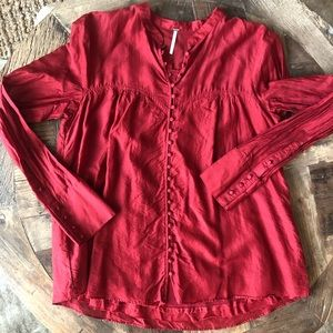 Free People Long Sleeve Button Top